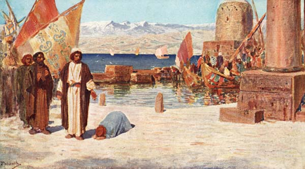 Jesus on the shore of Tyre and Sidon with a Canaanite woman at his feet.