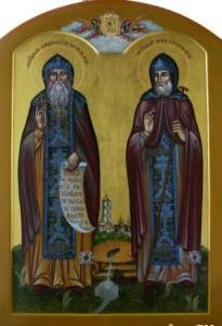 Преподобные отцы Иов и Амфилохий Почаевские. Современная икона.